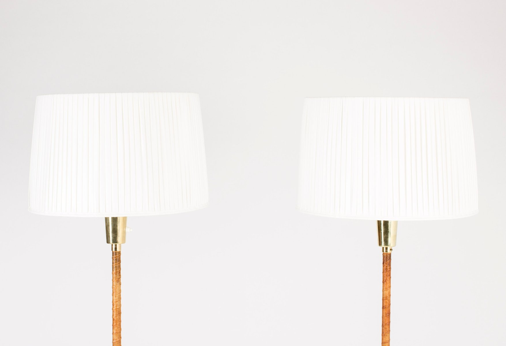 Brass leather floor lamps by lisa johansson pape for orno 1950s price per set aloadofball Image collections