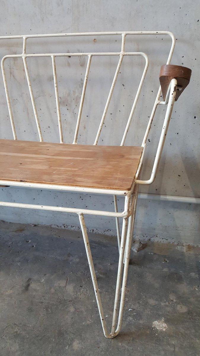 vintage metal wood garden bench 1950s for sale at pamono. Black Bedroom Furniture Sets. Home Design Ideas