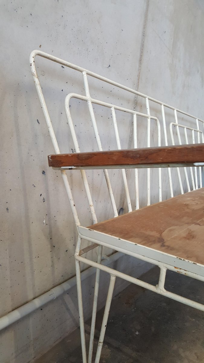 vintage metall holz gartenbank 1950er bei pamono kaufen. Black Bedroom Furniture Sets. Home Design Ideas
