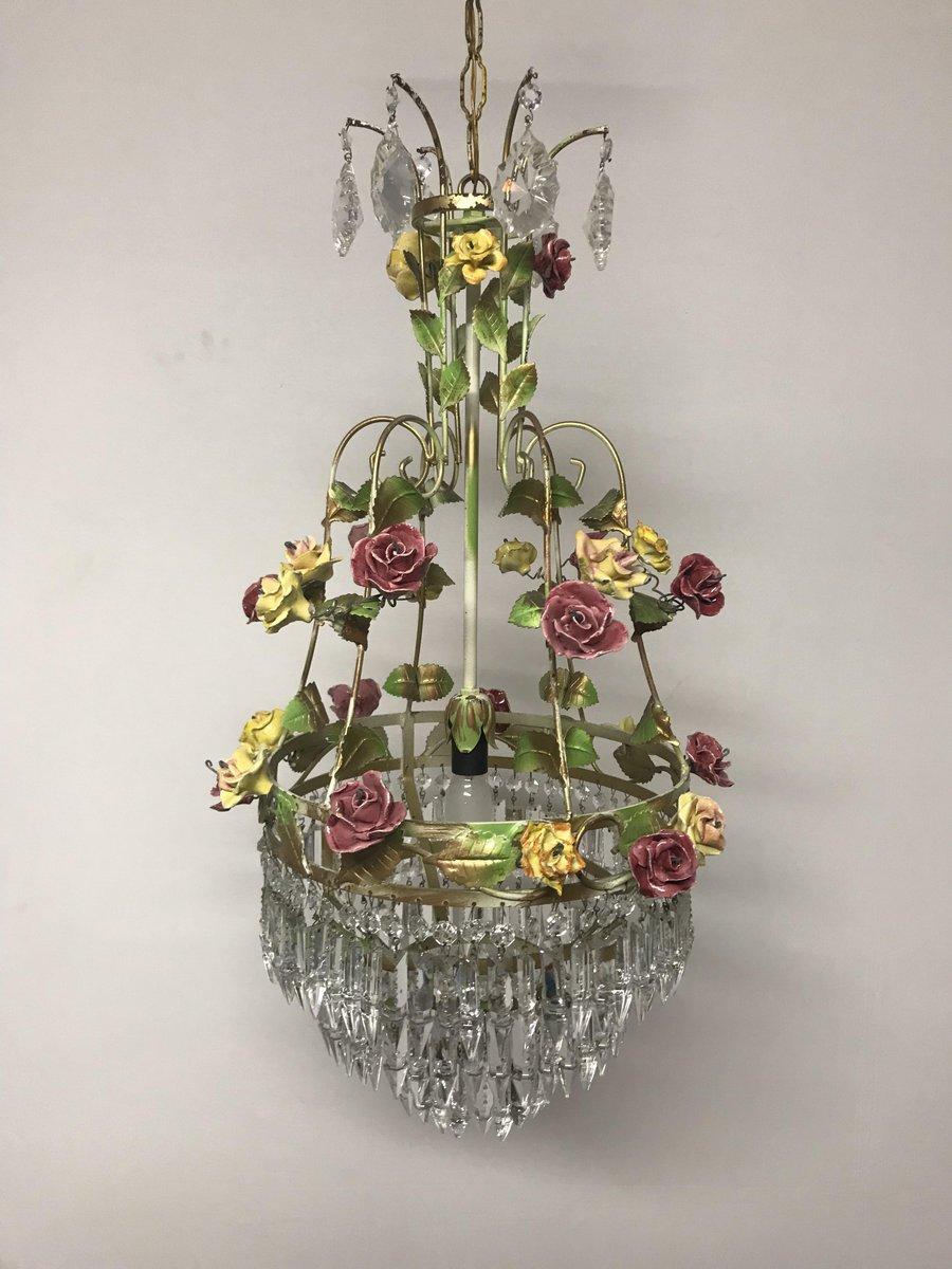 Italienische Vintage Kronleuchter mit Blumen aus Kristallglas & Porzel...