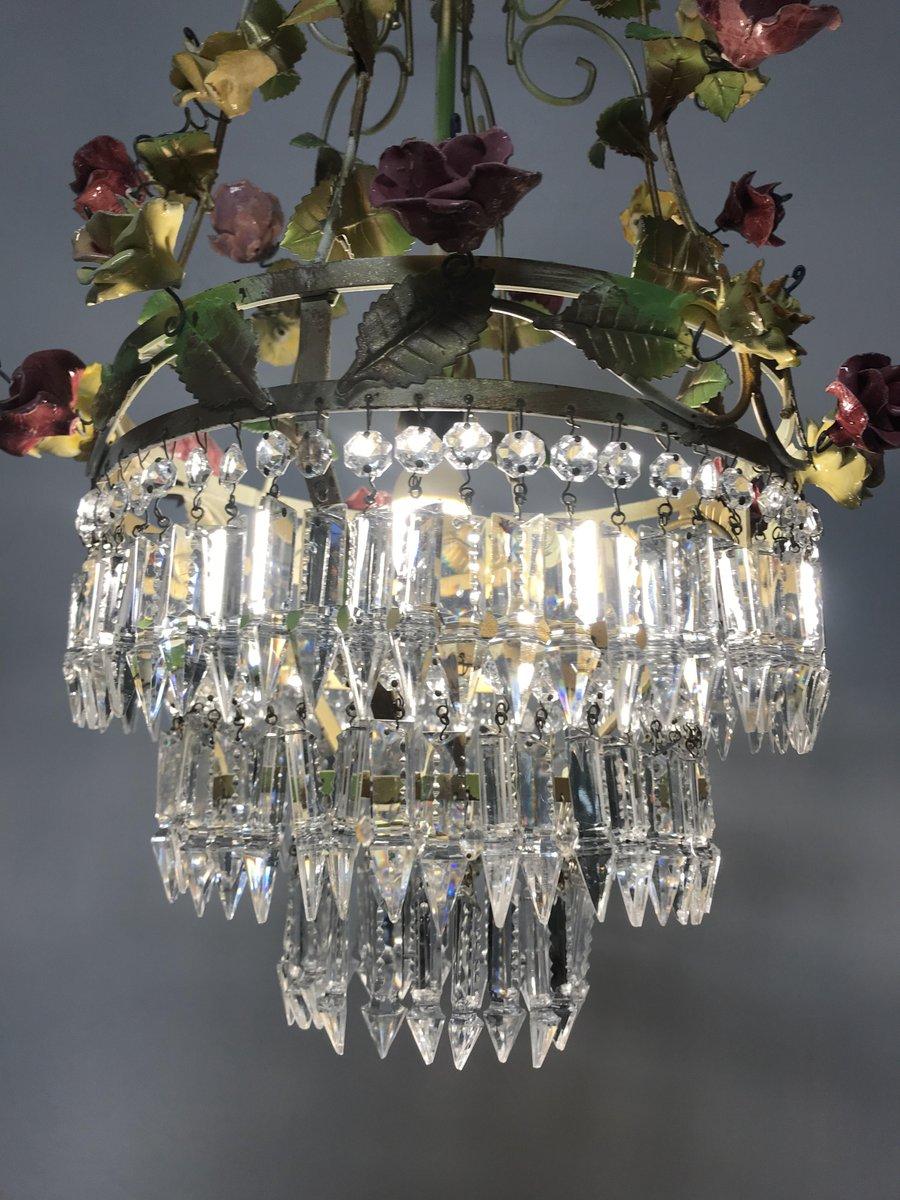 Vintage Italian Crystal Porcelain Flower Chandelier 8 660 00