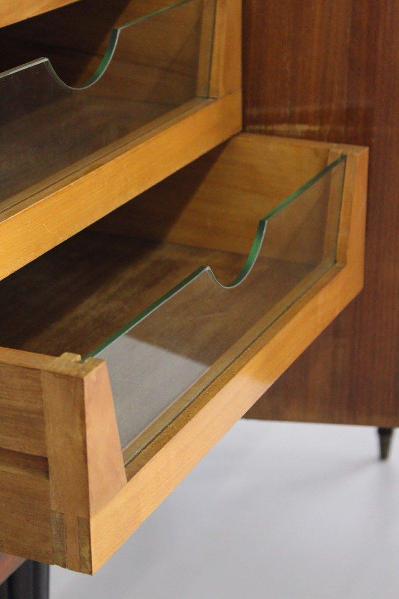 mid century sideboard aus messing glas holz 1940er bei pamono kaufen. Black Bedroom Furniture Sets. Home Design Ideas
