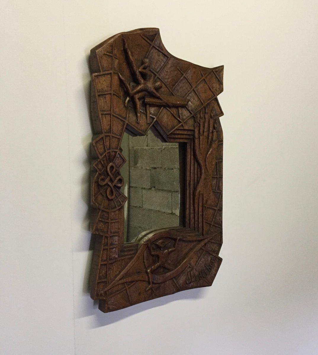 Franz sischer spiegel aus holz mit schnitzereien von johnny ludecher 1960er bei pamono kaufen - Spiegel aus holz ...
