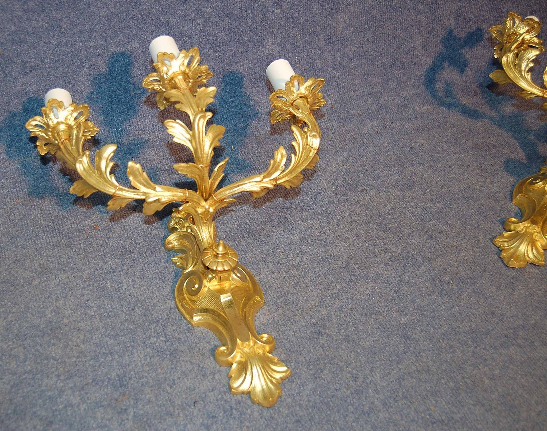 antike napoleon iii wandlampen aus vergoldeter bronze 2er set bei pamono kaufen. Black Bedroom Furniture Sets. Home Design Ideas