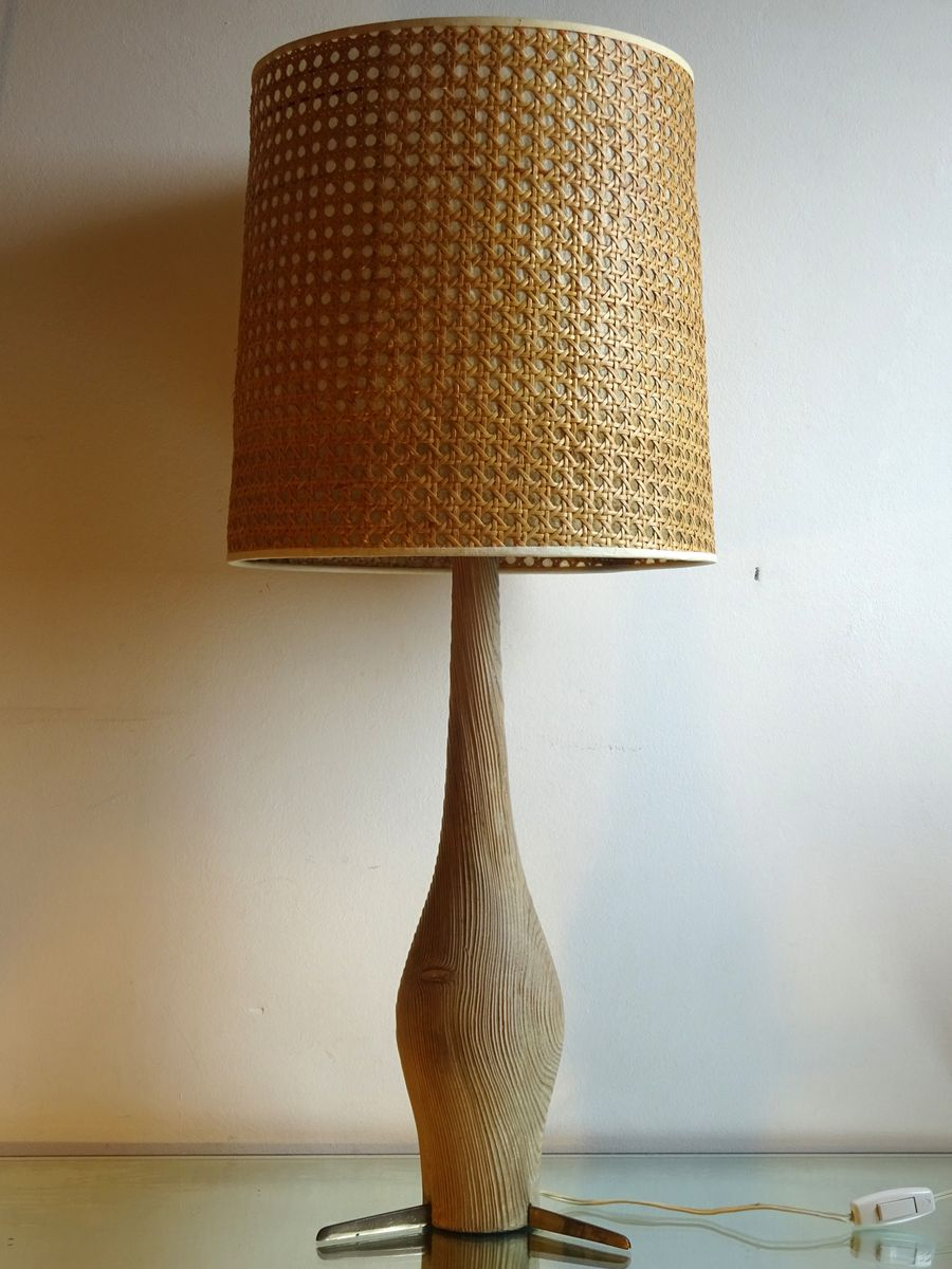 Cerused Holzlampe, 1950er