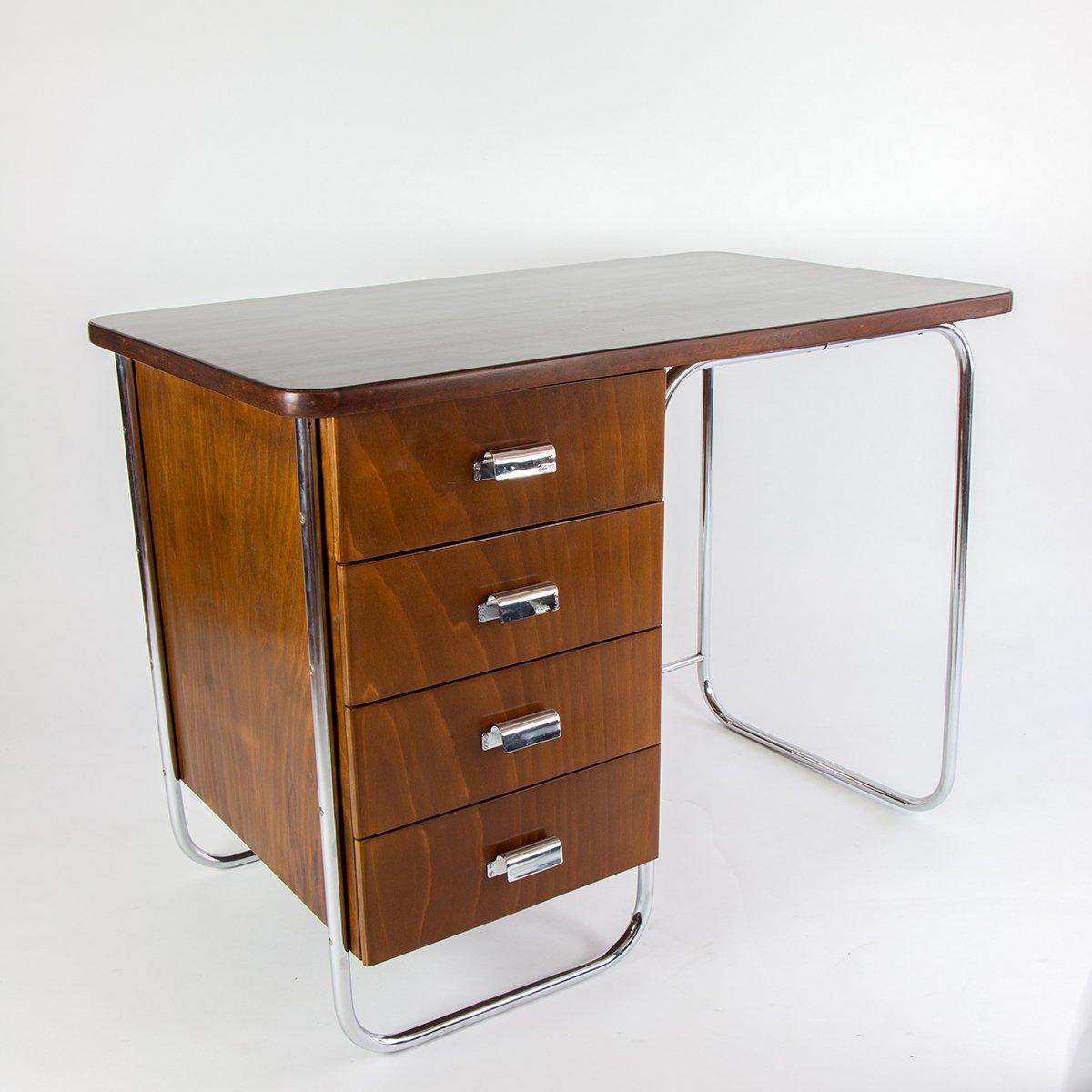 Vintage schreibtisch mit stahlrohr untergestell bei pamono for Schreibtisch untergestell