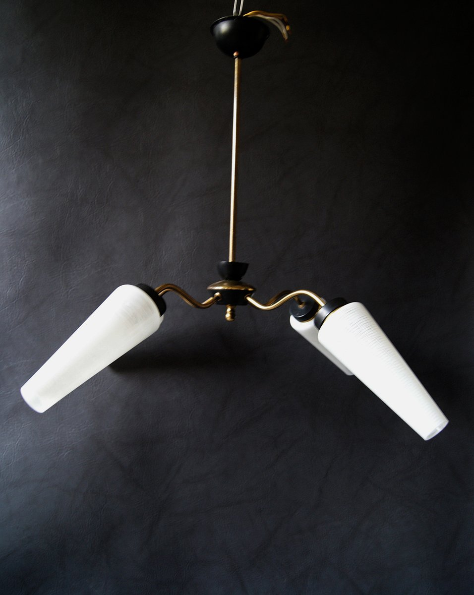 Deutsche Mid-Century Deckenlampe aus Messing & Glas, 1950er