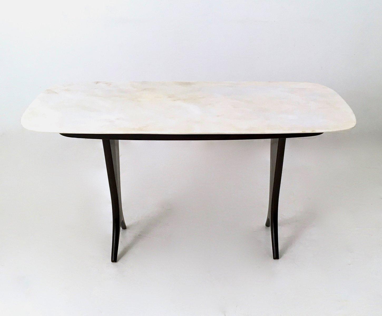 Vintage Couchtisch aus ebonisiertem Nussholz mit Carrara Marmor Tischp...
