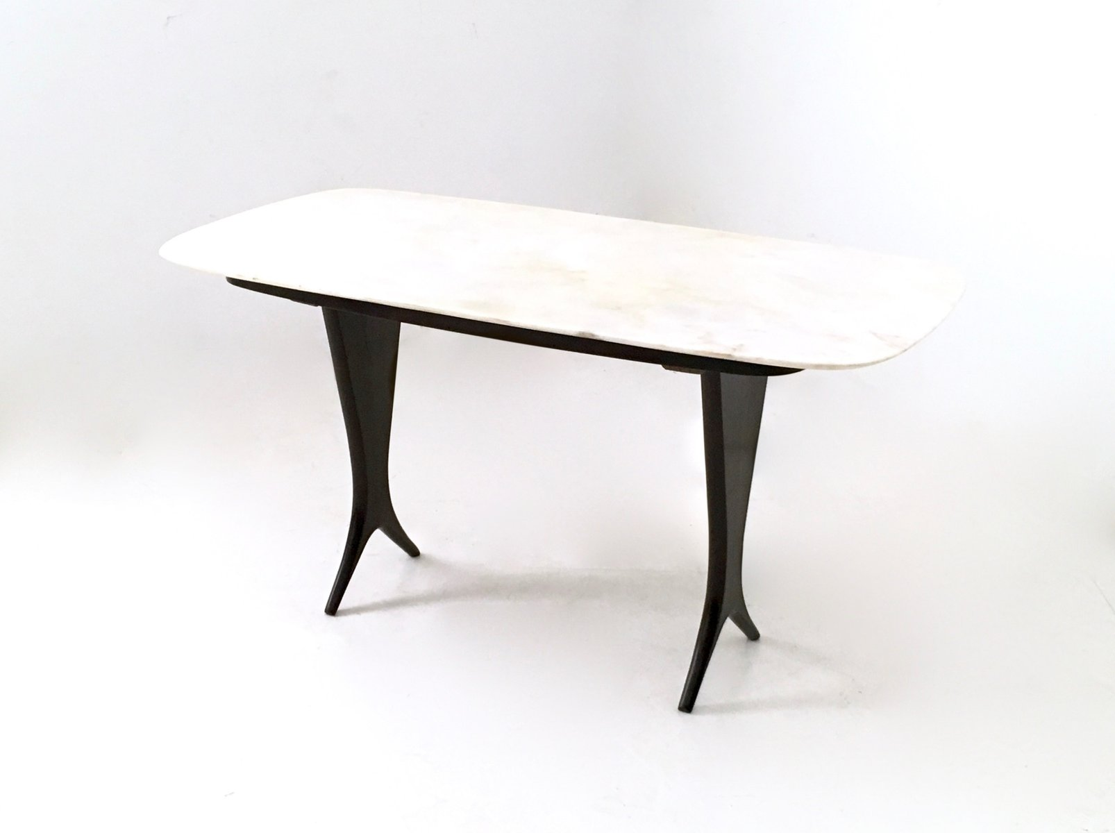 Vintage Ebonized Walnut Coffee Table With Carrara Marble Top By - Walnut and marble coffee table