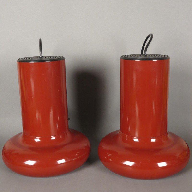 Vintage Hängelampen aus bordeauxrotem Metall, 1970er, 2er Set