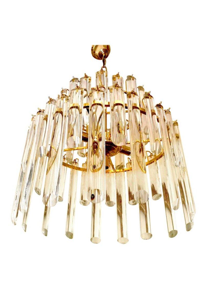 Kronleuchter mit 50 Murano Glasstäben & vergoldetem Korpus von Paolo V...