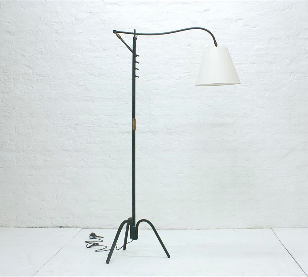 Verstellbare Stehlampe von Jacques Adnet, 1950er