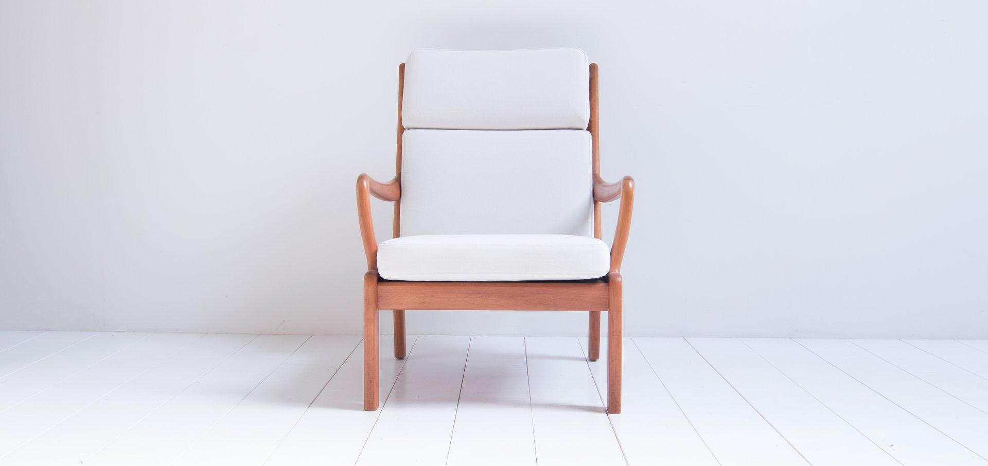 Weißer dänischer Sessel von L. Olsen & Son, 1960er