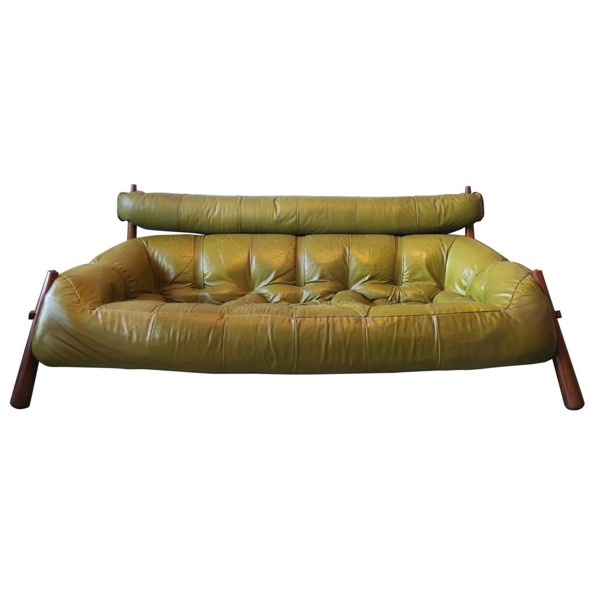 Brazilian 3 Seater Rosewood Leather Sofa From Percival Lafer 1974