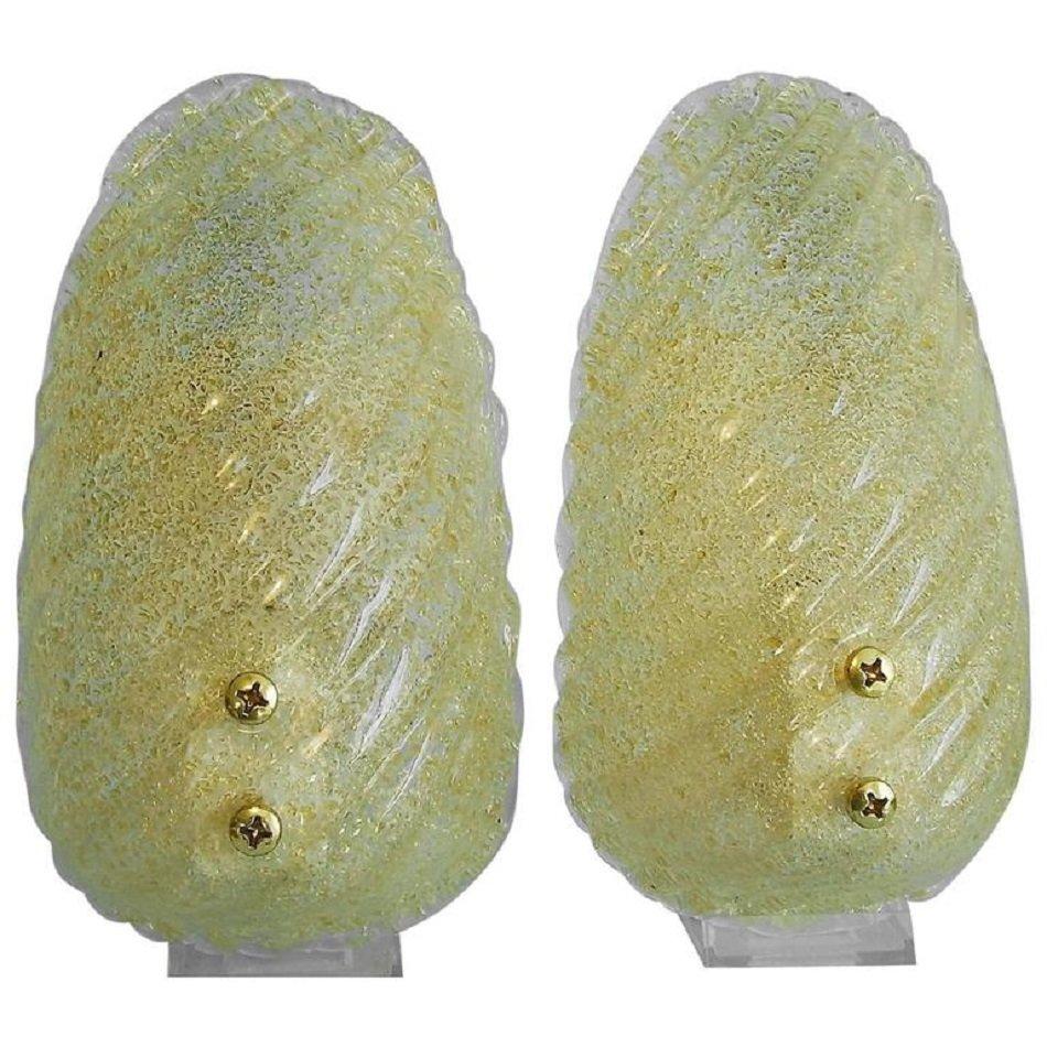 Italienische Wandlampen mit Gold-Einschlüssen von Barovier and Toso, 1...