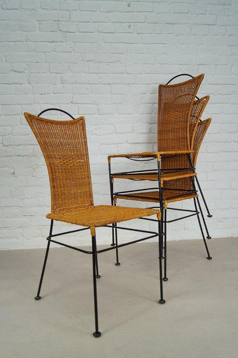 deutsche st hle aus eisen und rattan 1960er 4er set bei pamono kaufen. Black Bedroom Furniture Sets. Home Design Ideas