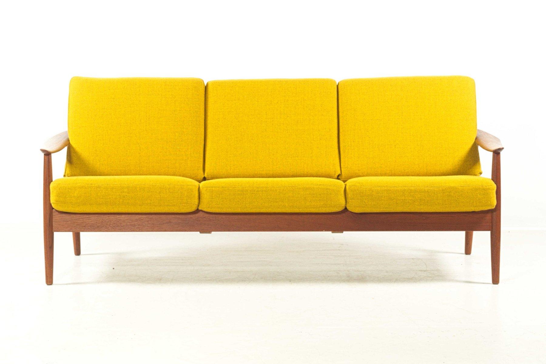 Yellow 3 Seater Teak Sofa By Arne Vodder For France Søn