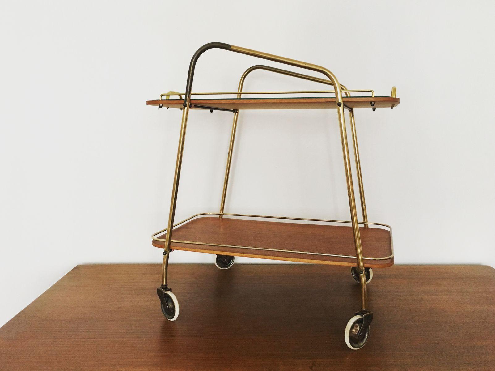 chariot bar mid century en laiton et meubles en teck 1950s en vente sur pamono. Black Bedroom Furniture Sets. Home Design Ideas