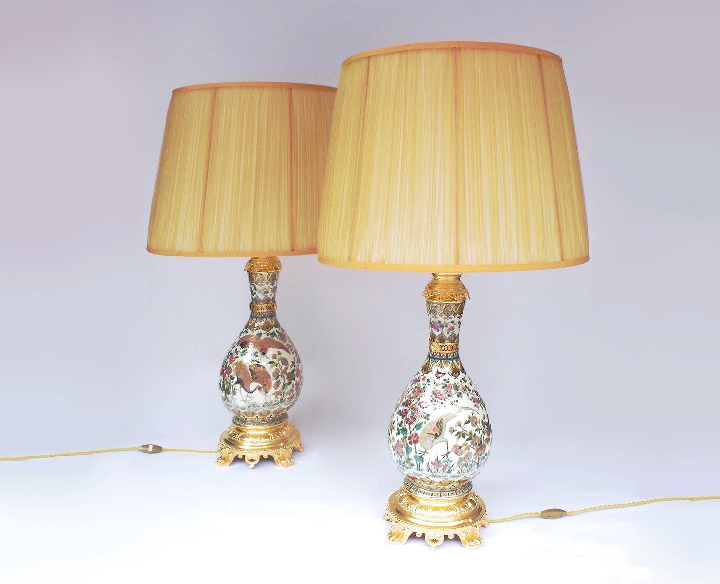 Cremefarbene Porzellan Lampen von Zsolnay, 2er Set, Spätes 19. Jh.
