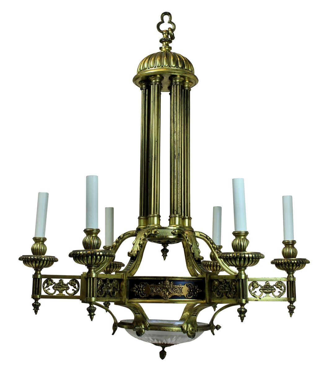 Antiker französischer vergoldeter Bronze Kronleuchter