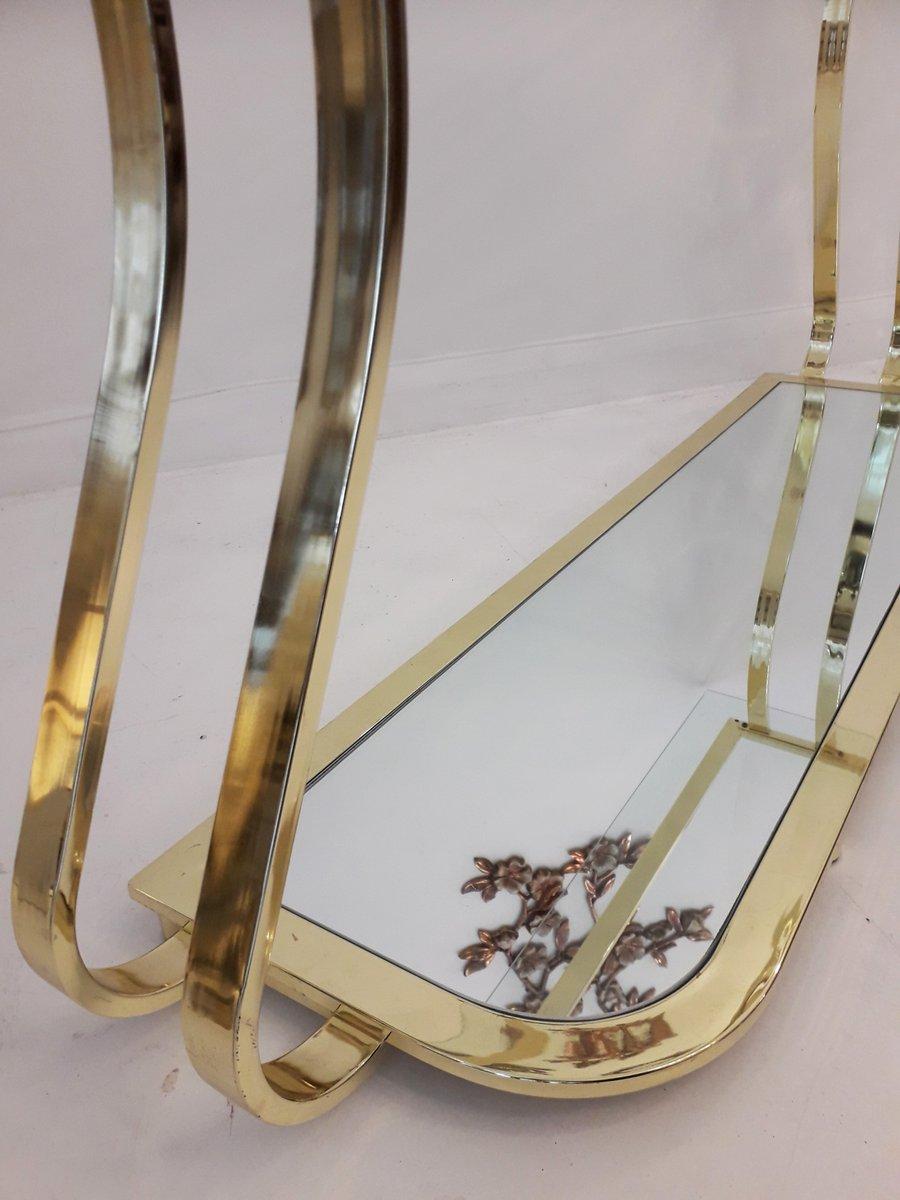 table console vintage en m tal dor courb et verre miroir en vente sur pamono. Black Bedroom Furniture Sets. Home Design Ideas