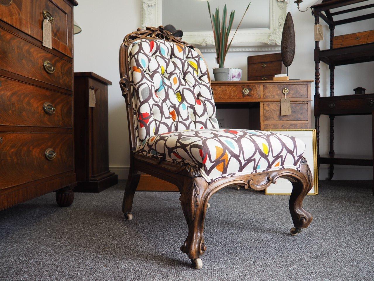 fauteuil du 19 me si cle victorien avec dossier en forme de cuilli re en vente sur pamono. Black Bedroom Furniture Sets. Home Design Ideas