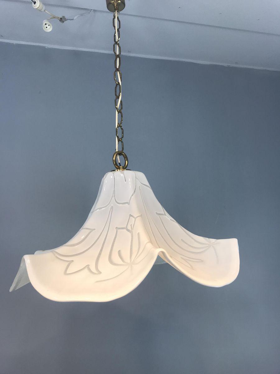 Italienische Kunstglas & Messing Lampe, 1960er