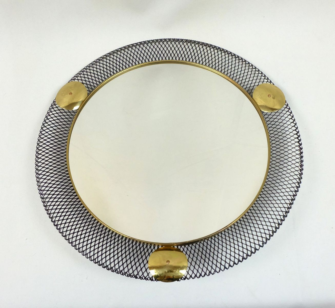 Wall Mirror with Filigree Metal Frame, 1950s for sale at Pamono