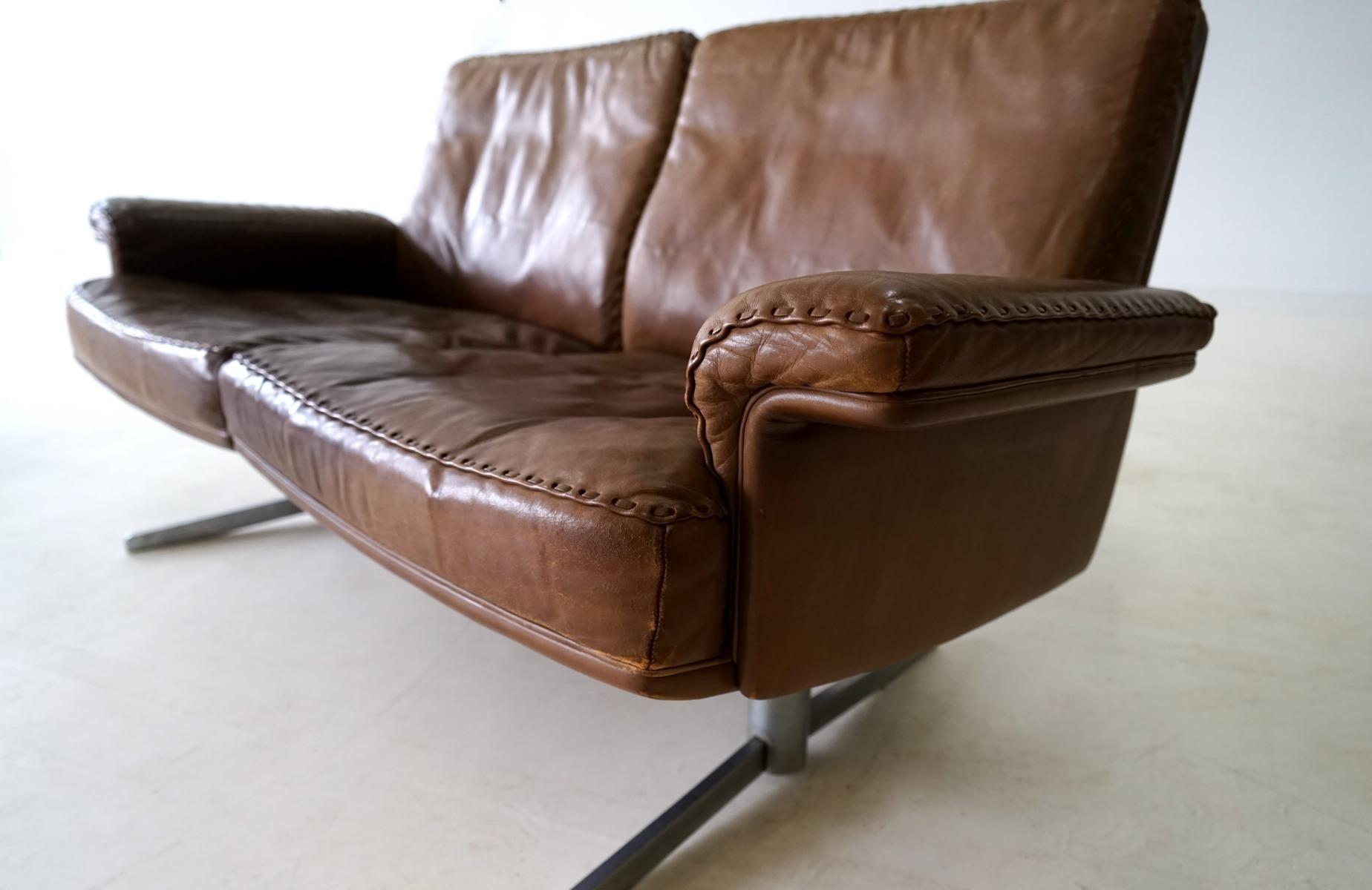 vintage modell ds 31 leder 2 sitzer sofa von de sede 2er set bei pamono kaufen. Black Bedroom Furniture Sets. Home Design Ideas