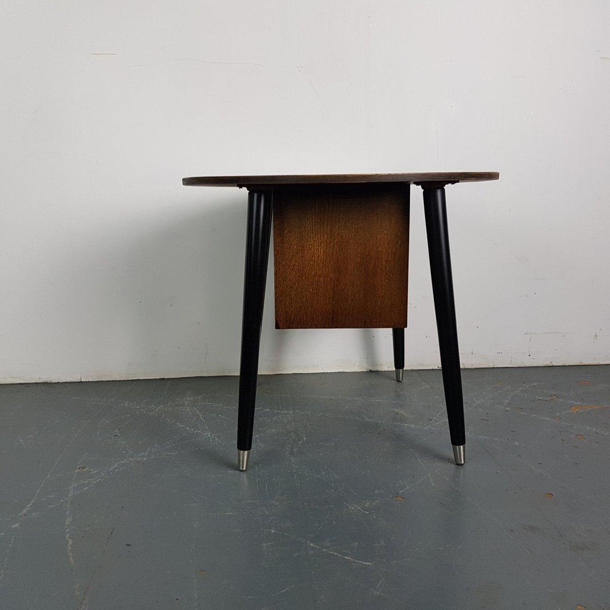 Vintage Dark Wood Coffee Table With Shelf 1950s
