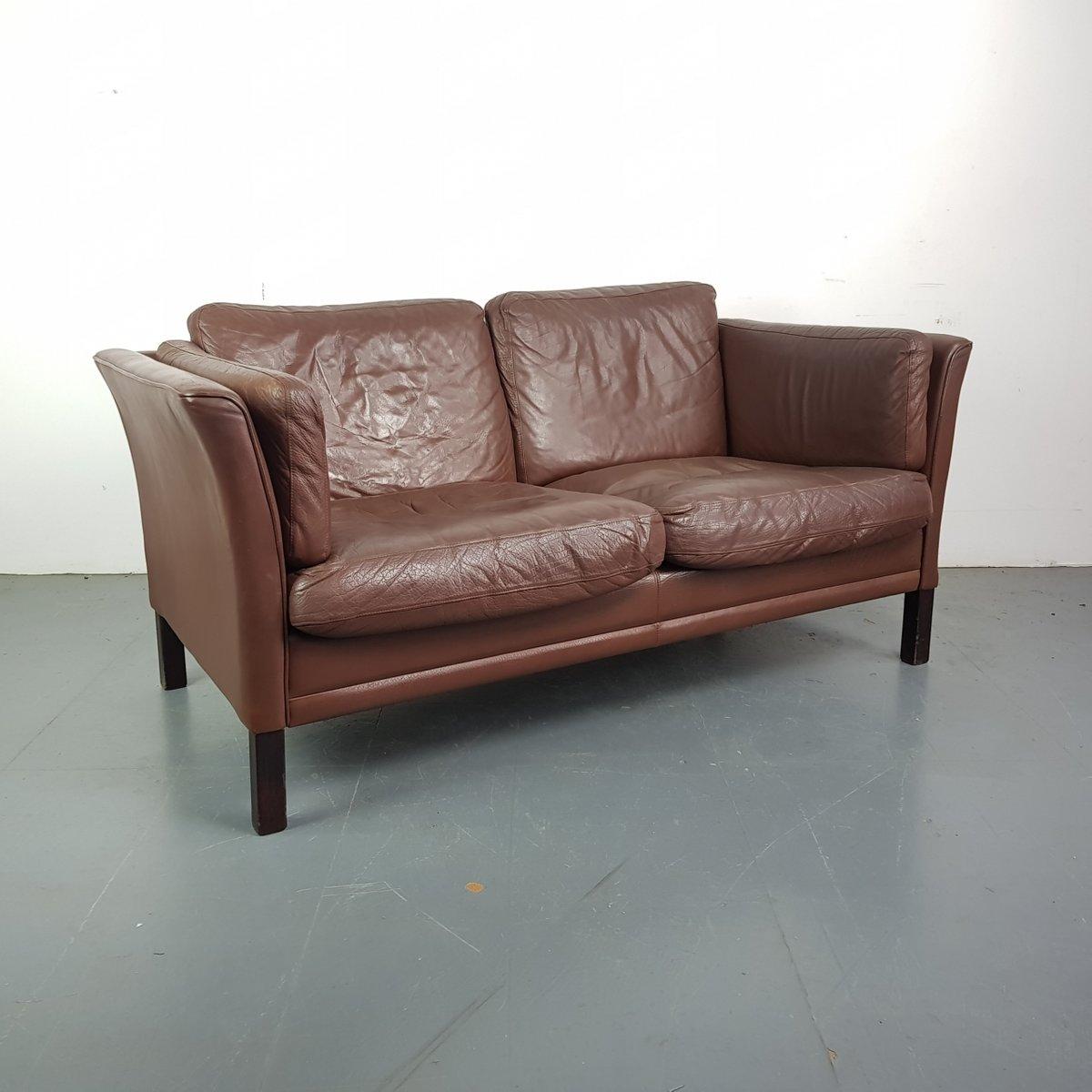 vintage 2 seater brown leather sofa for sale at pamono. Black Bedroom Furniture Sets. Home Design Ideas