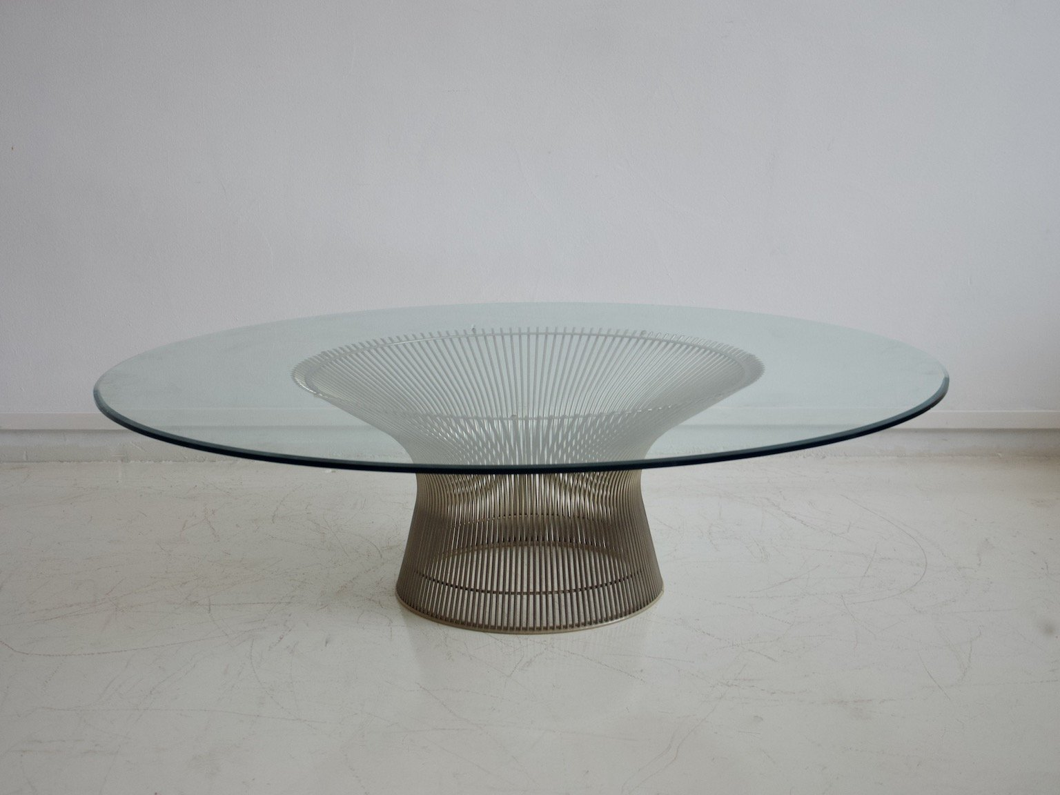Mid Century Wire Round Glass Coffee Table By Warren Platner For Knoll International