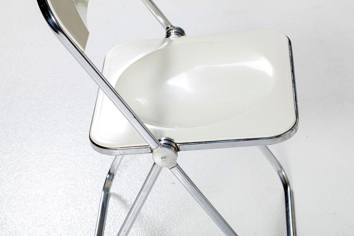 Chaise Pliable Plia Blanche et Bureau par Giancarlo Piretti pour Castelli, 1960s