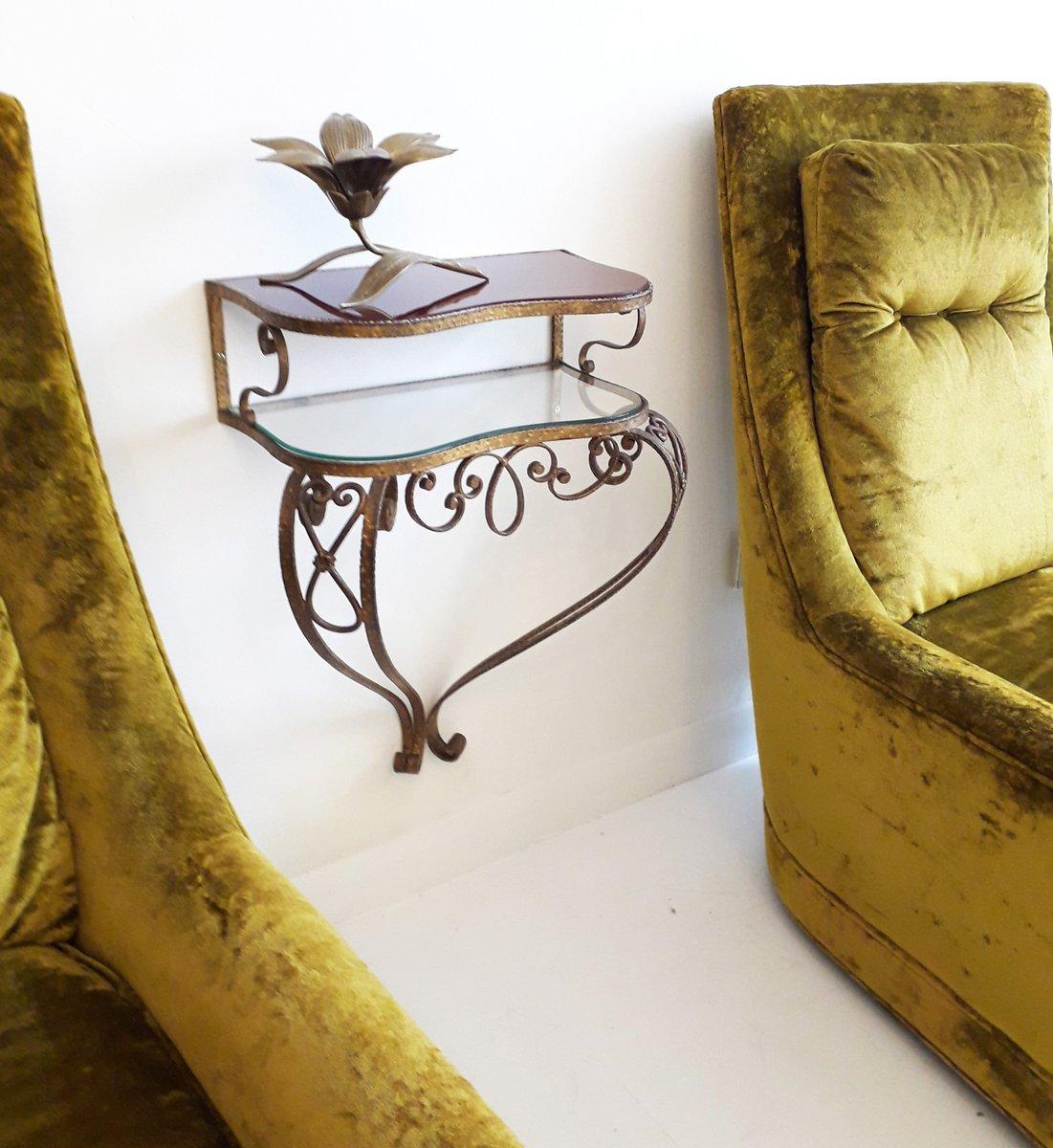 schwebender konsolentisch aus vergoldetem eisen glas von pier luigi colli 1950er bei pamono. Black Bedroom Furniture Sets. Home Design Ideas