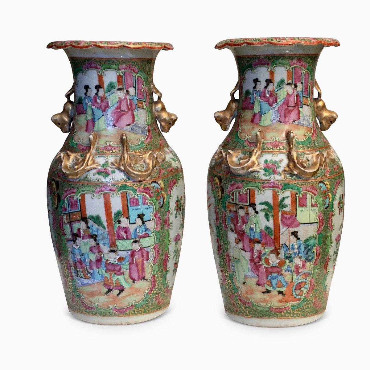 Jarrones Chinos Antiguos De Ceramica Cantonesa Familia Rosa Juego