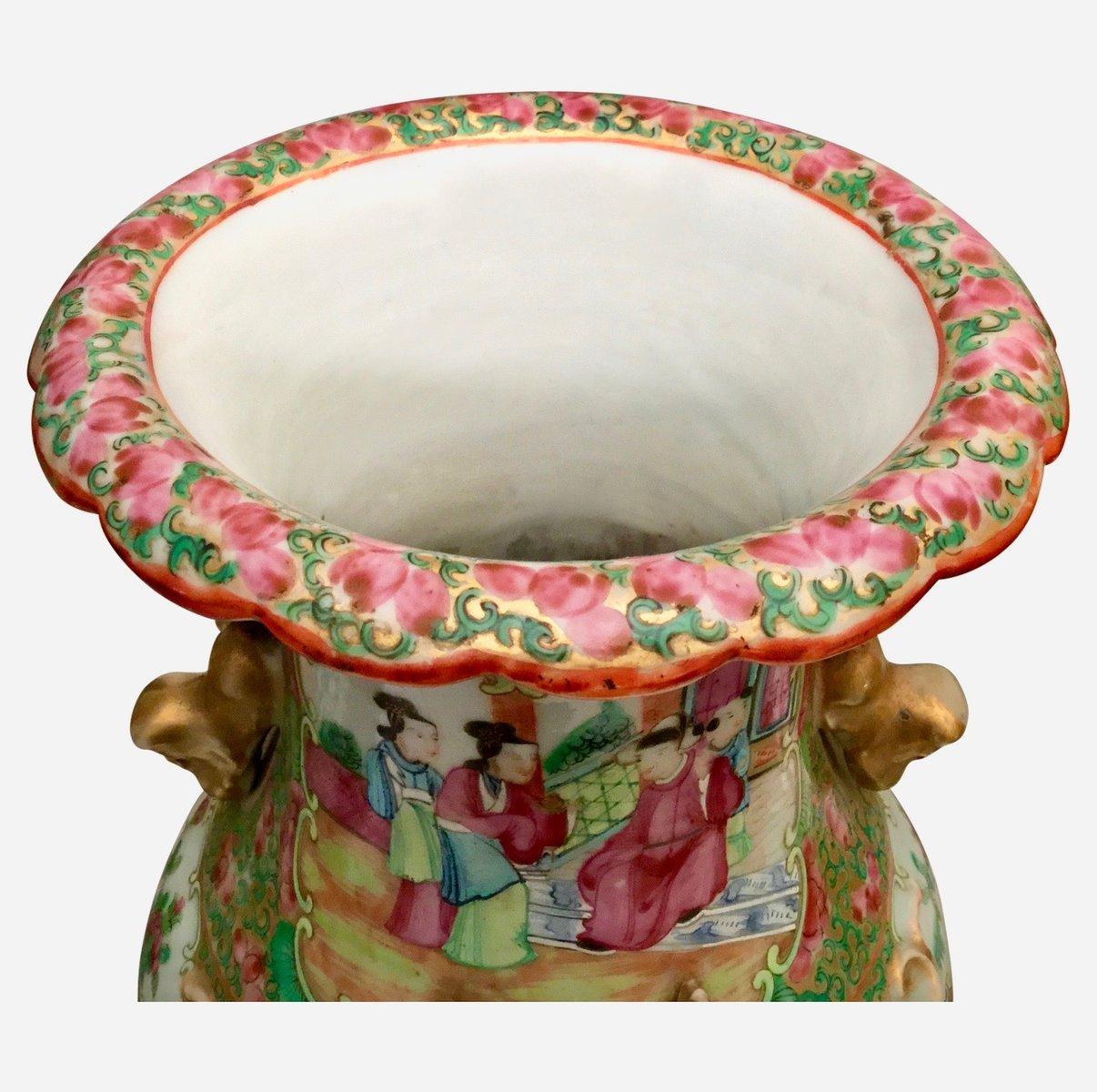 Jarrones chinos antiguos de cer mica cantonesa familia rosa juego de 2 en venta en pamono - Biombos chinos antiguos ...