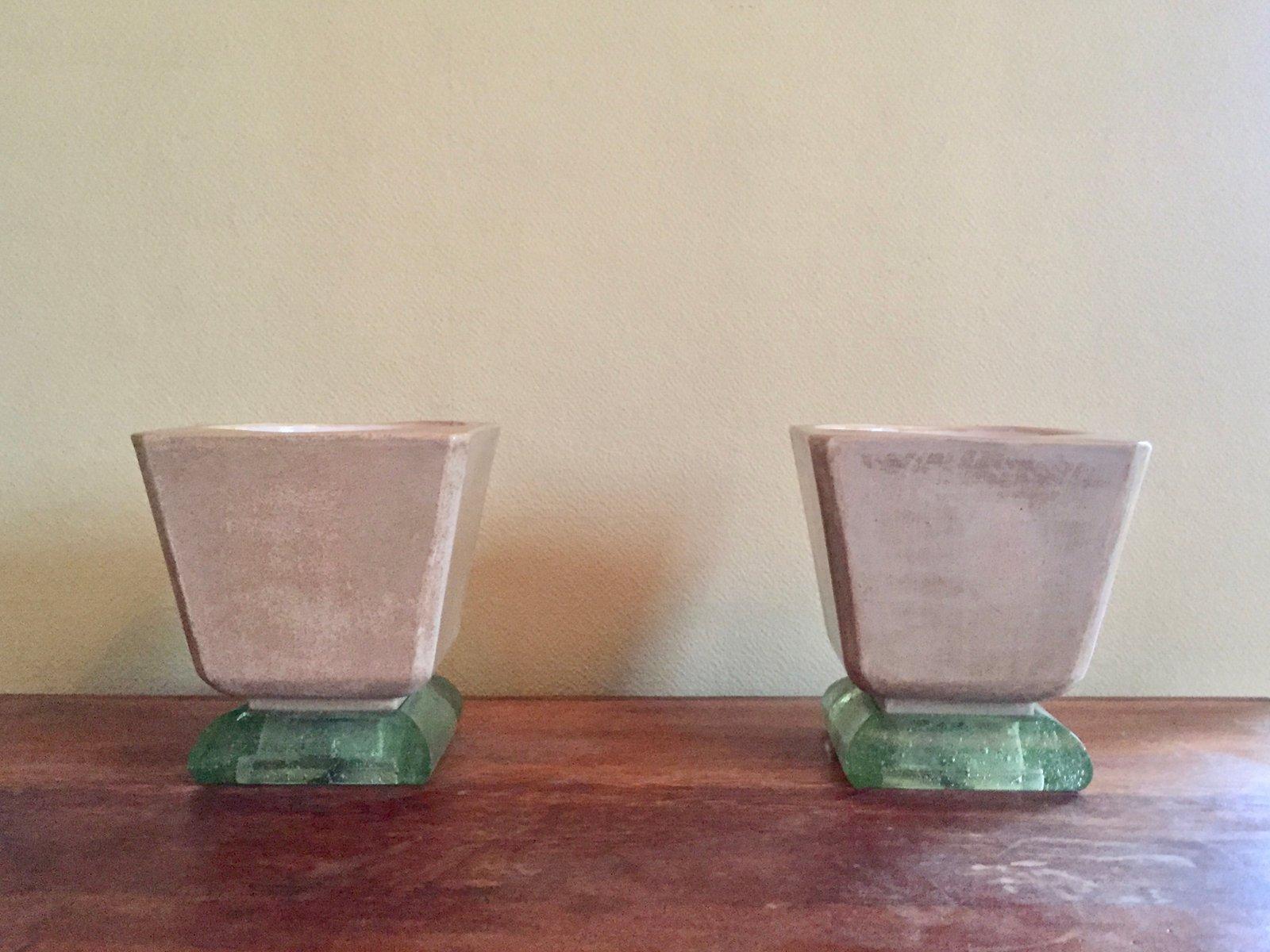 Vintage Mortier Art Deco Tischlampen aus Keramik & Glas von Saint Goba...