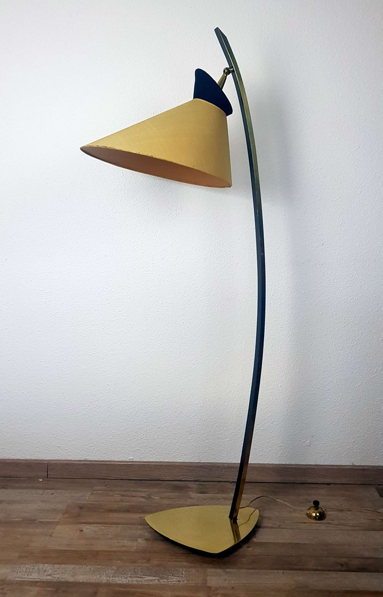 Vintage Stehlampe in Schwarze & Gelb von Stilnovo, 1950er