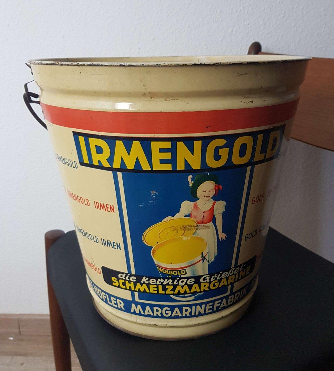 Vintage Irmengold Margarine Blech Eimer, 1950er | Küche und Esszimmer > Küchen-Zubehör > Mülleimer | Mehrfarbig | Metall