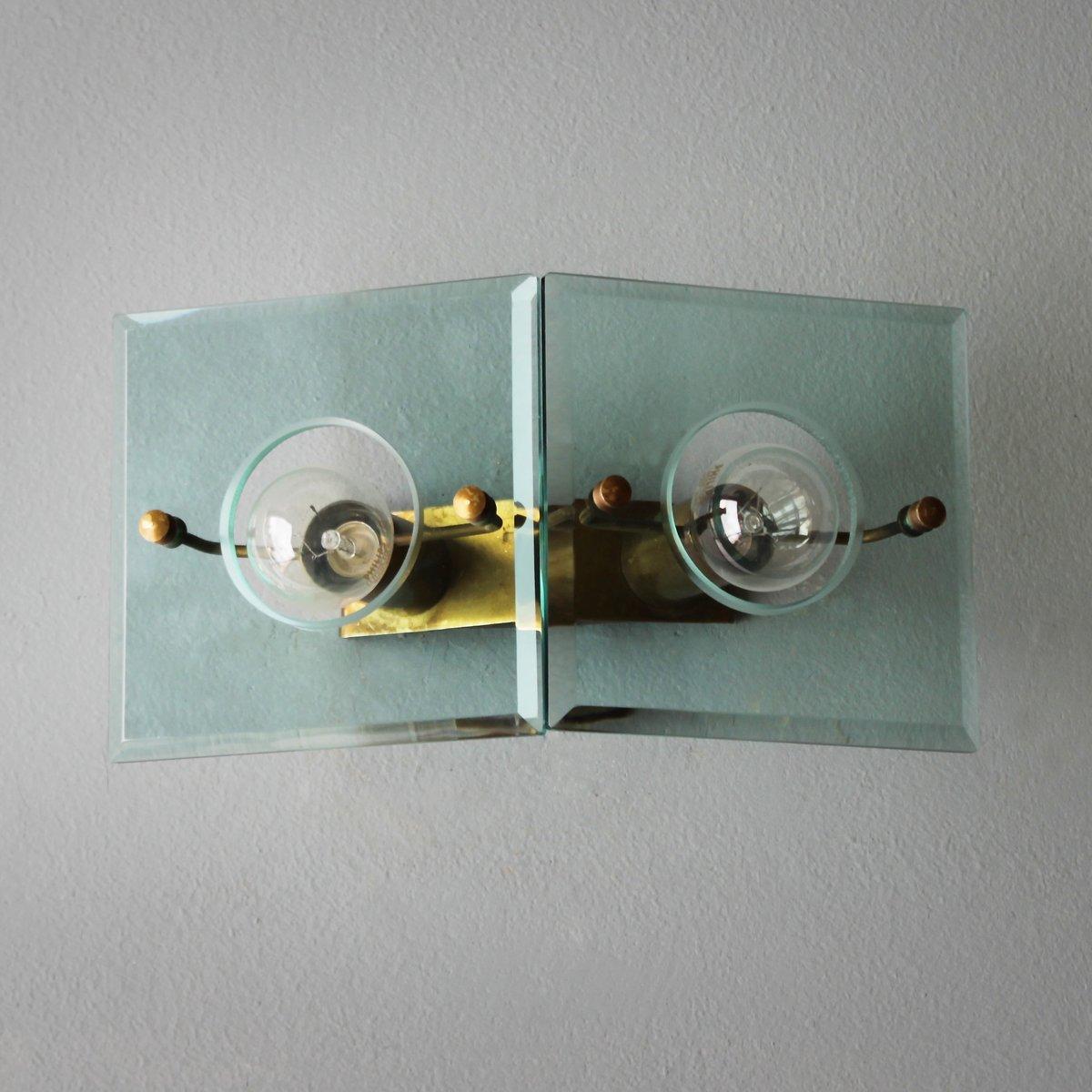 Italienische Vintage Messing und Glas Wandlampe von Arredoluce