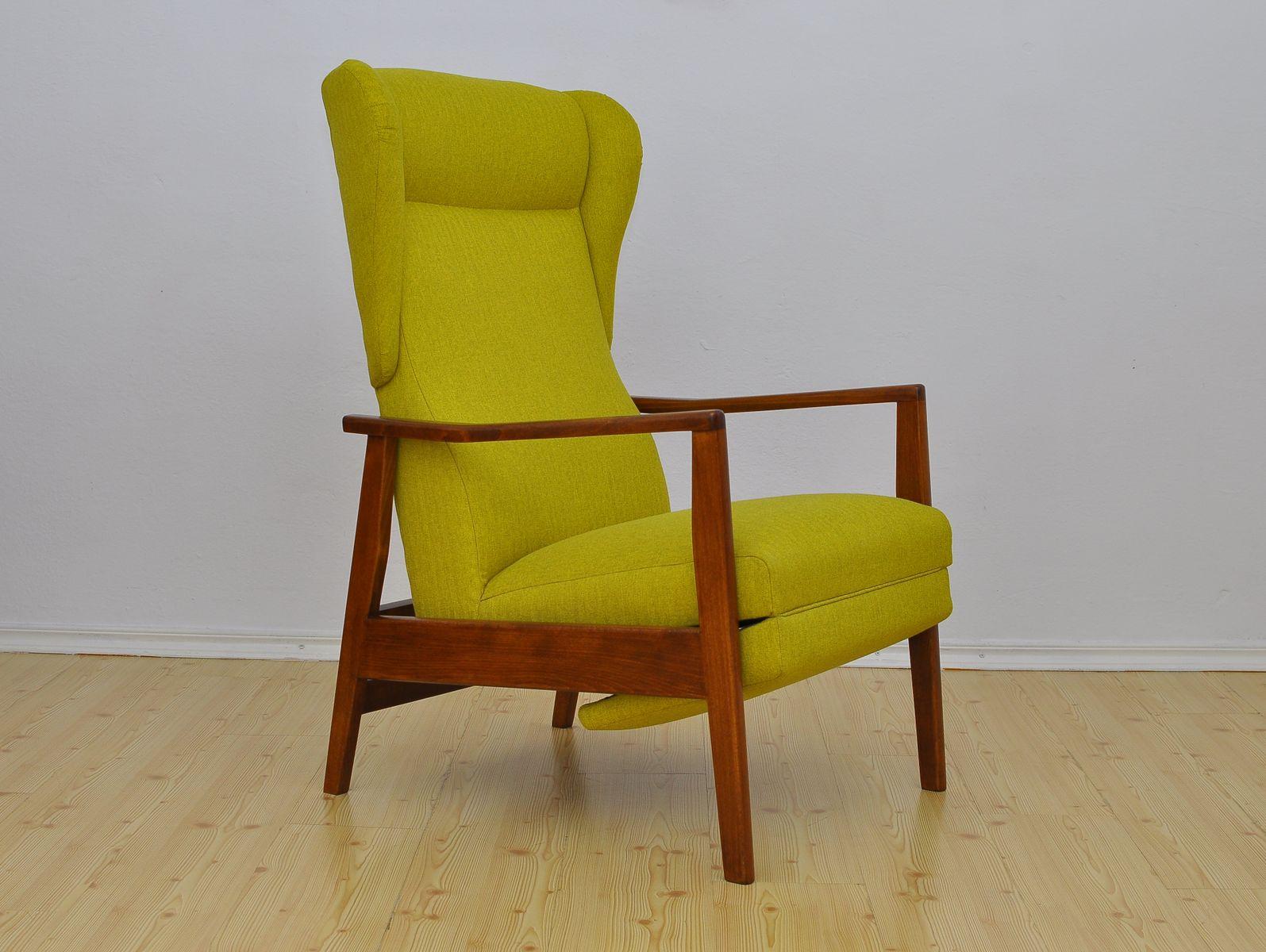 Sessel mit klappbarer Fußstütze, 1960er