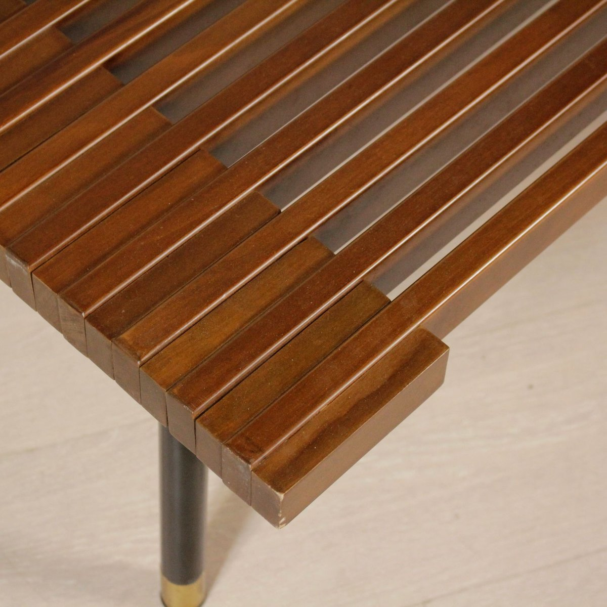 Vintage Italian Stained Beech Coffee Table With Metal Legs