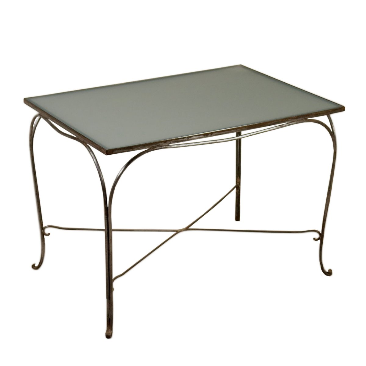 table en fer forg verre 1960s en vente sur pamono. Black Bedroom Furniture Sets. Home Design Ideas