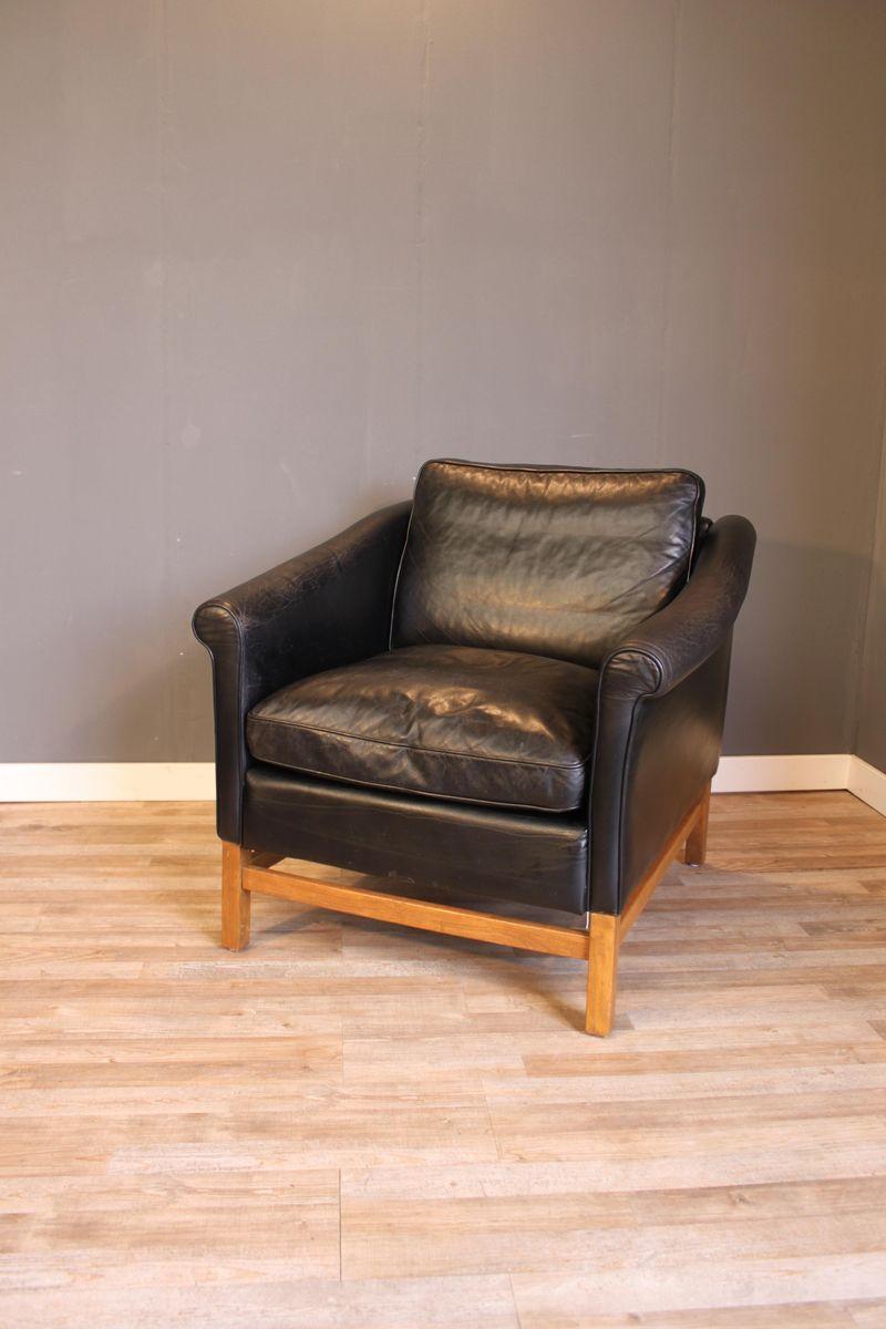 Schwarzer Leder Sessel aus Buche von Stouvon, 1970er