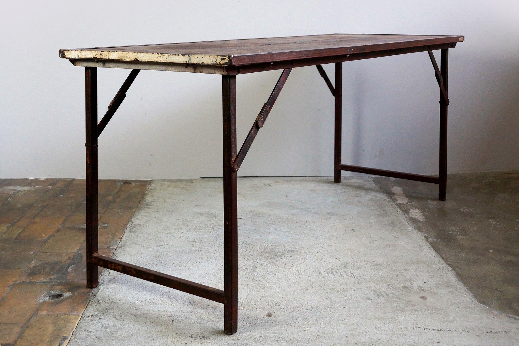 Tavolo da giardino industriale pieghevole india anni 39 50 in vendita su pamono - Tavolo pieghevole da giardino ...