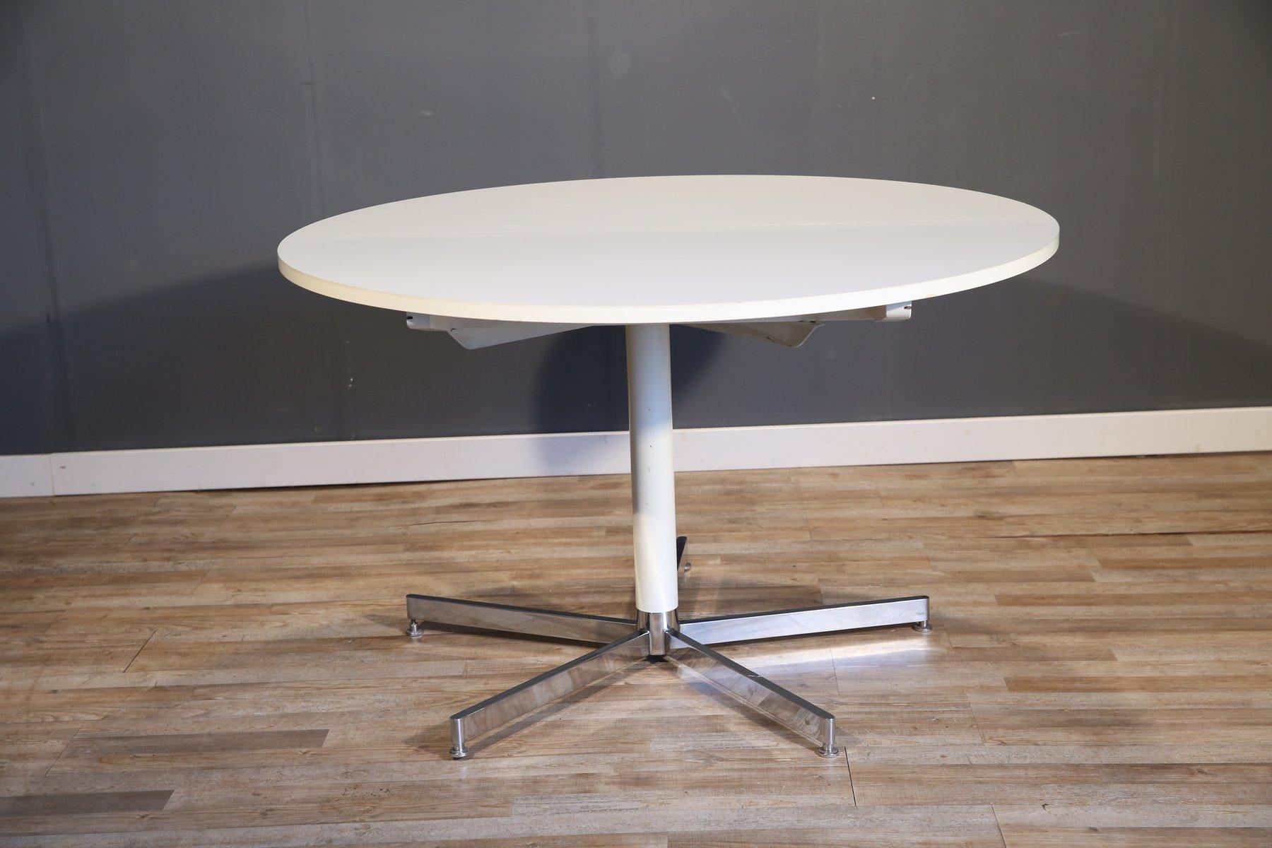 grande table de salle manger ronde blanche de tecta 1970s en vente sur pamono. Black Bedroom Furniture Sets. Home Design Ideas