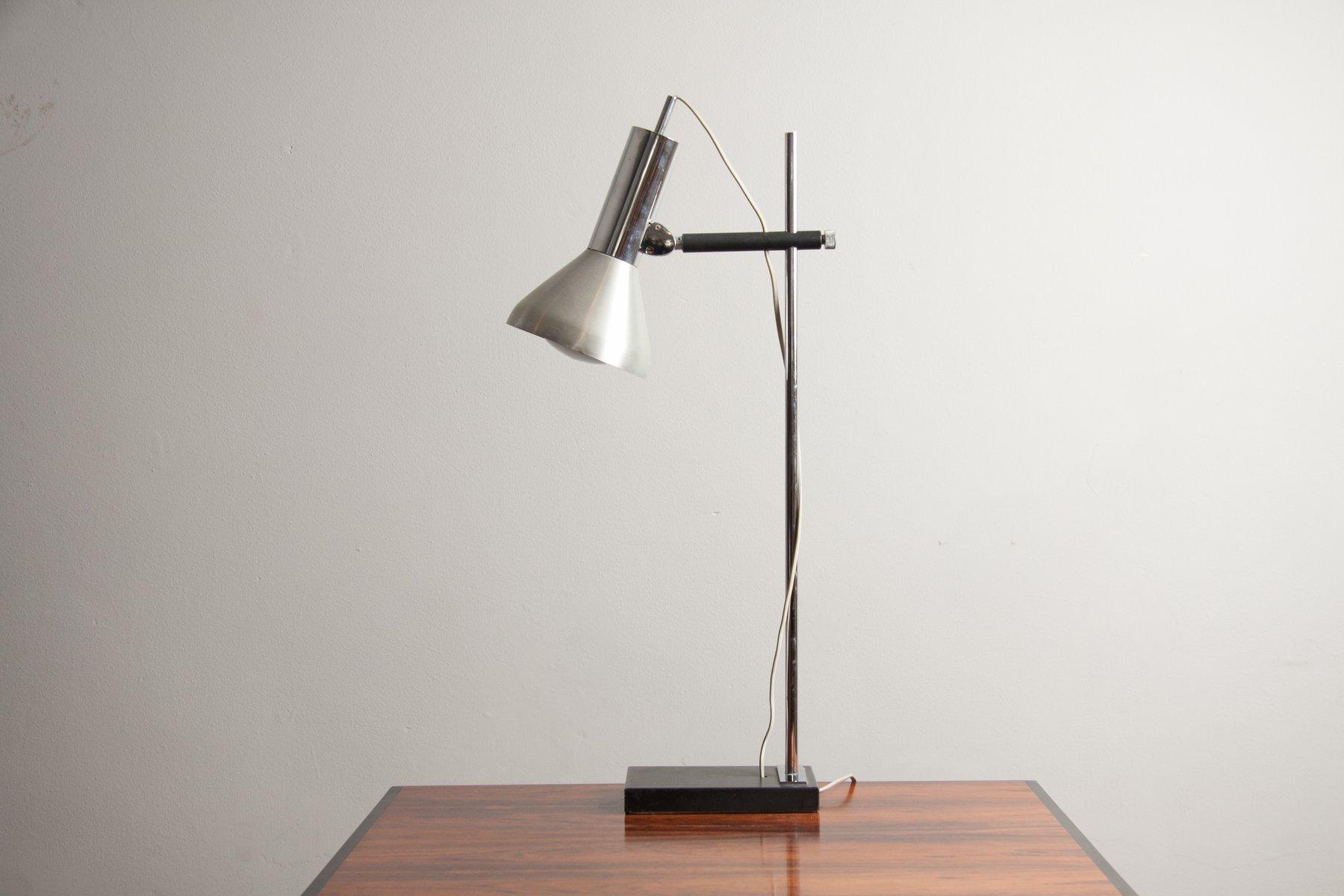 Verstellbare französische Schreibtischlampe aus Chrom & schwarzem Guss...