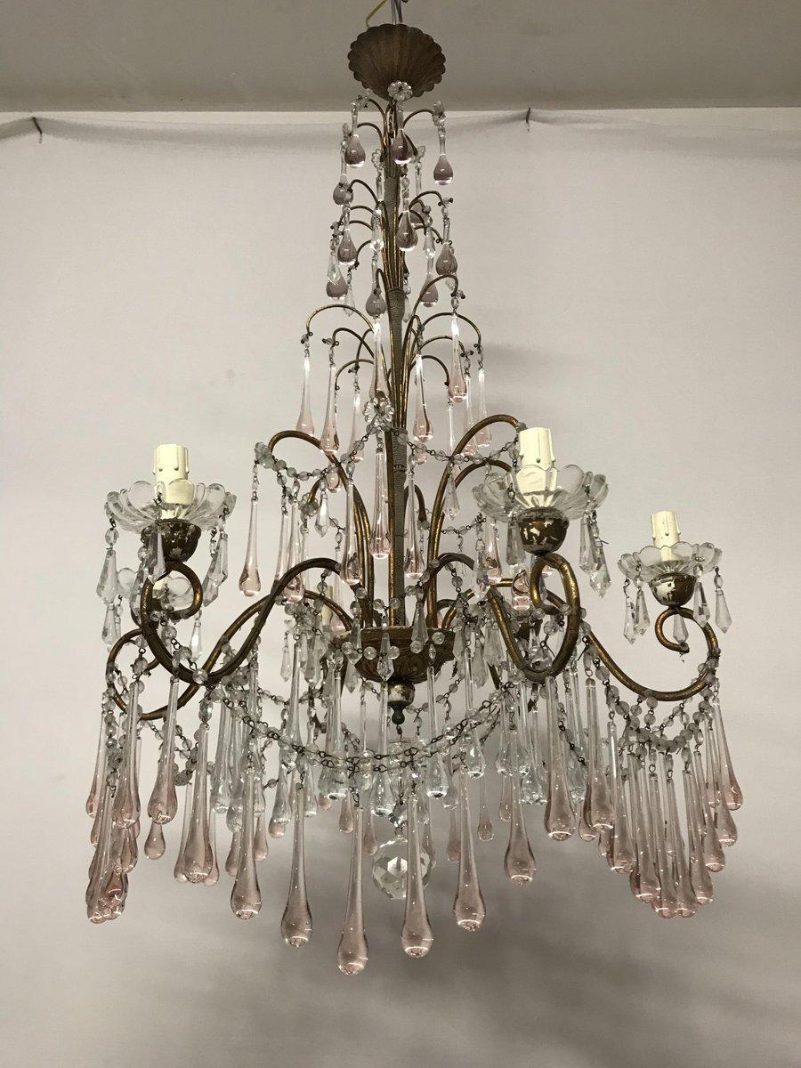 Lampadari Antichi Con Gocce Di Cristallo.Lampadario Antico Con Perle In Cristallo E Gocce In Vetro Di Murano