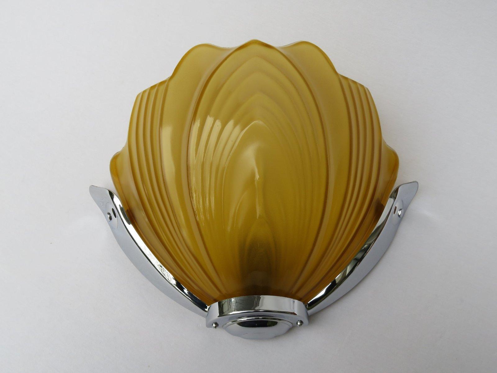 Verchromte britische Art Deco Wandlampen von Falks, 2er Set