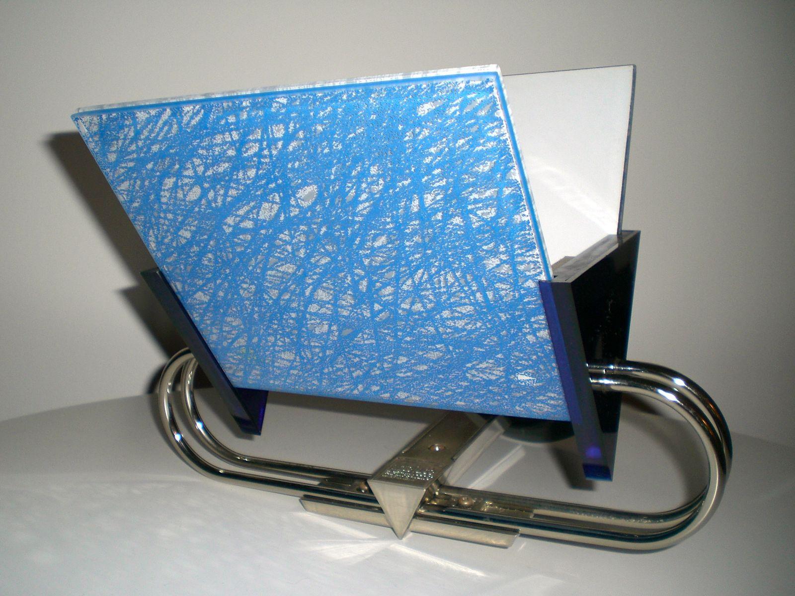 Blaue Vintage Glas & Stahl Wandlampe von Arteluce